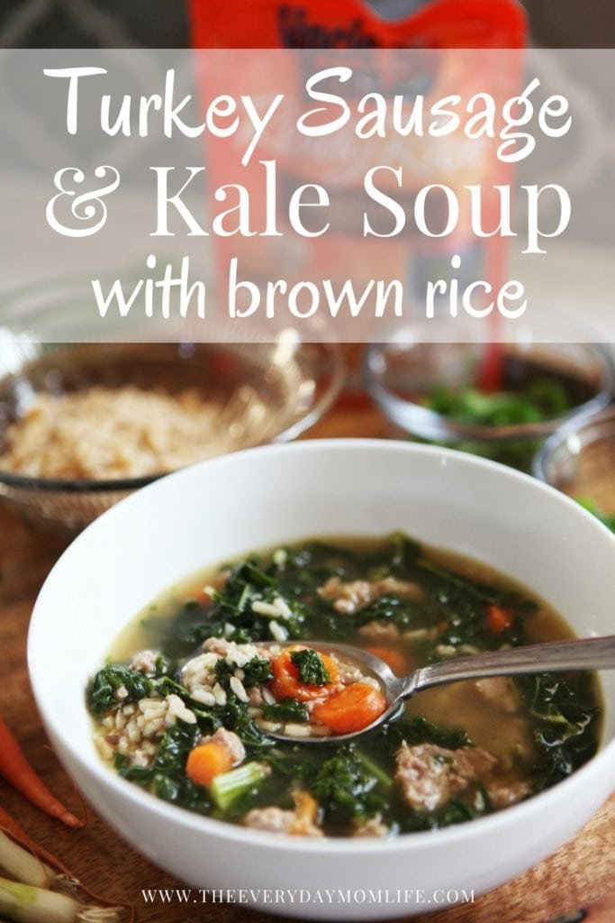 turkey sausage kale soup with brown rice - The everyday mom life