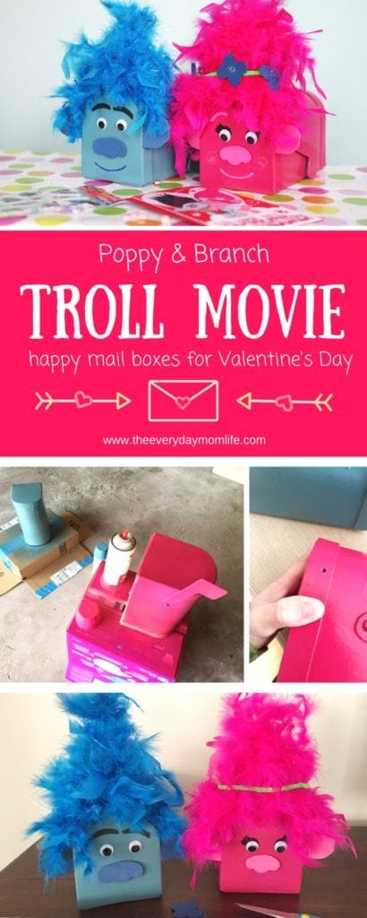 Trolls Movie Card Boxes Valentine's Day Mailboxes - The Everyday Mom Life