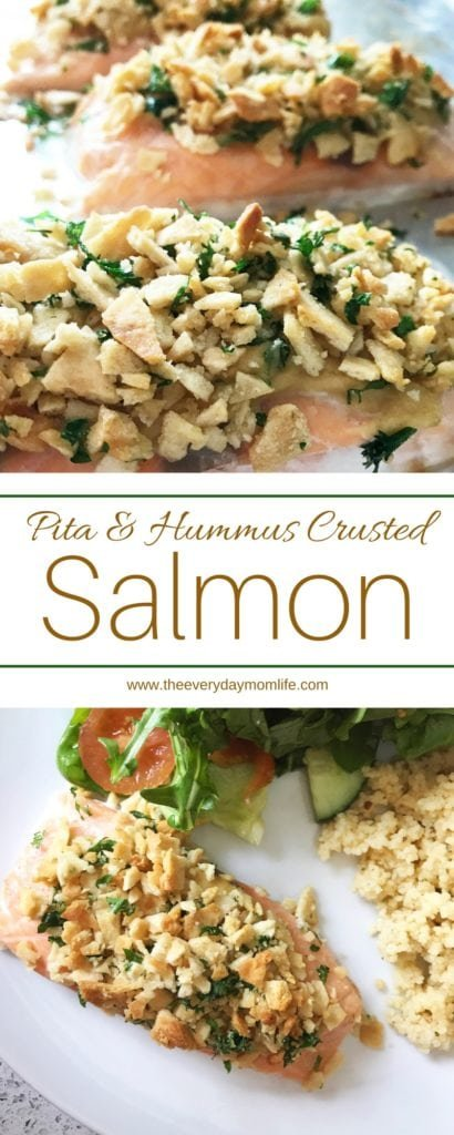Pita and hummus crusted salmon - The Everyday Mom Life