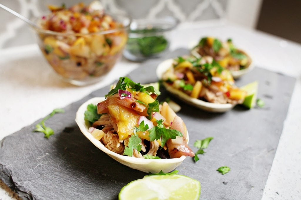 Roasted Peach salsa and Carnitas for football appetizers with Old El Paso - The Everyday Mom Life