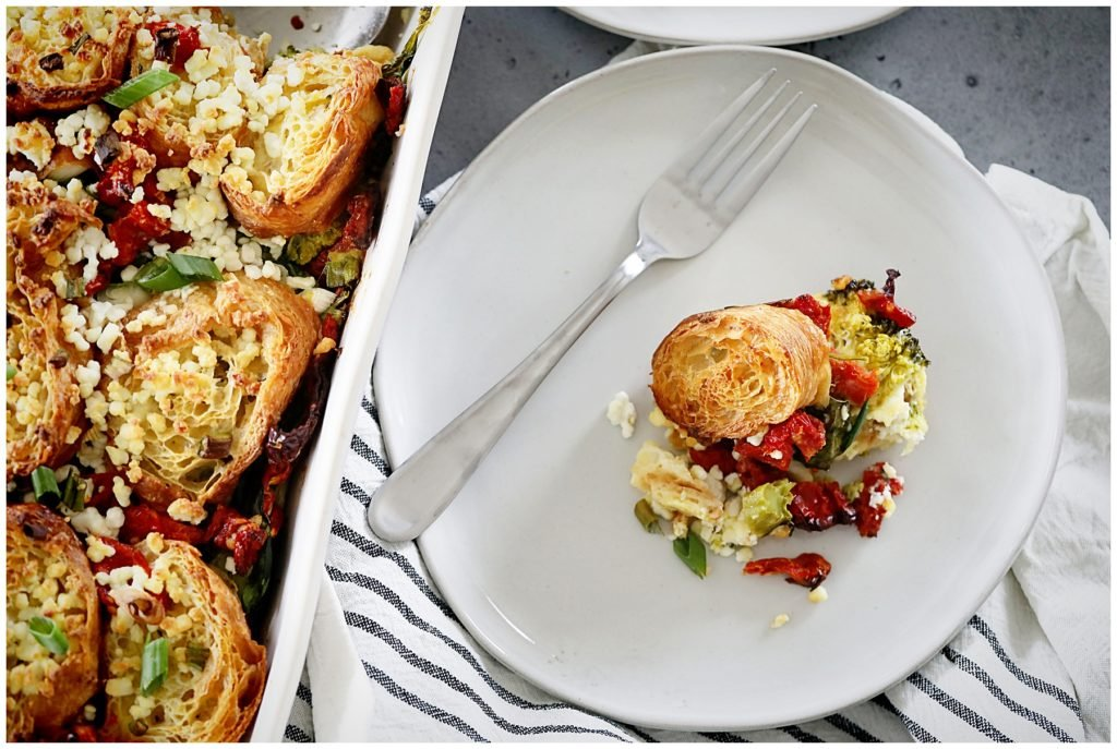 Vegetable Croissant Breakfast Casserole