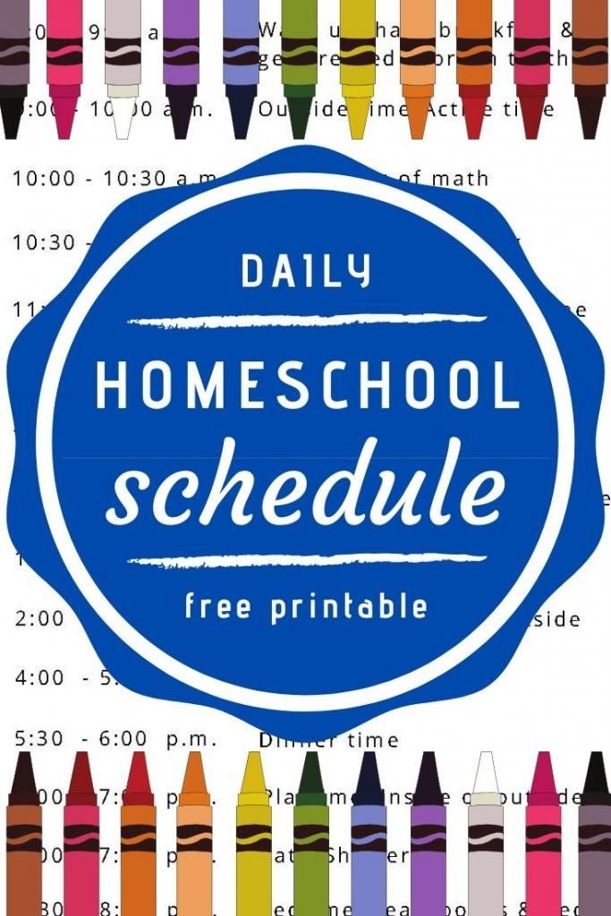Daily homeschool schedule with free printable